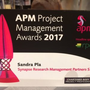 Synapse, with colleagues from IQVIA and University of Edinburgh, represents EPAD at the UK Association for Project Management 2017 award ceremony